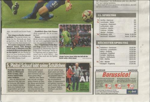 Bild am Sonntag - Sport - Bayern v Frankfurt 4