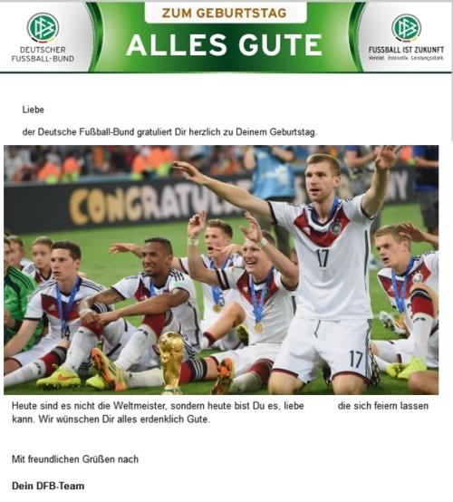 Geburstag e-mail aus DFB