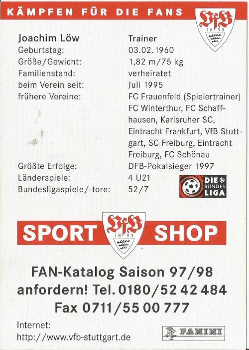 Joachim Löw - Stuttgart card - back