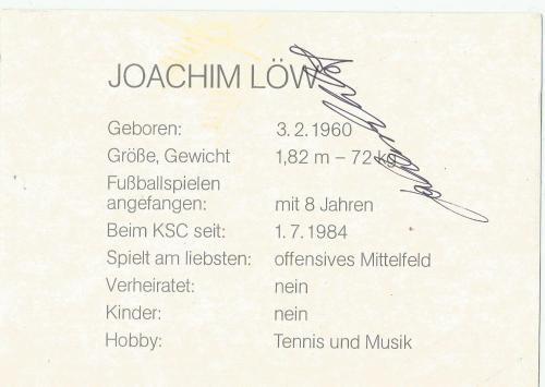 Joachim Löw - Karlsruher SC Karte 2