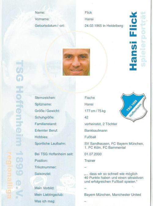 Hansi Flick - TSG 18199 Hoffenheim signed card 2