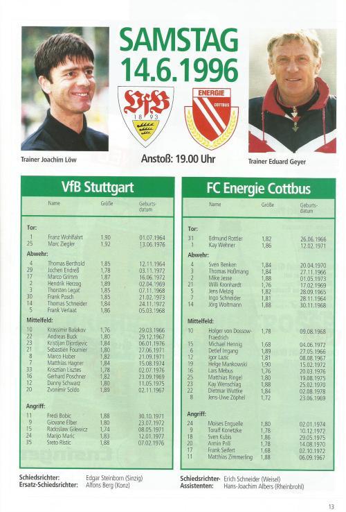 aktuell - VfB Stuttgart vs FC Energie Cottbus - DFB Pokal Endspiel 1997 3