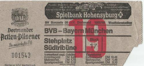 BVB v FCB - 1985-86 ticket