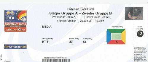 Confederations Cup 2005 - semi final ticket