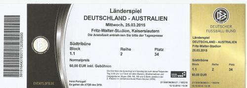 Germany v Australia - ticket