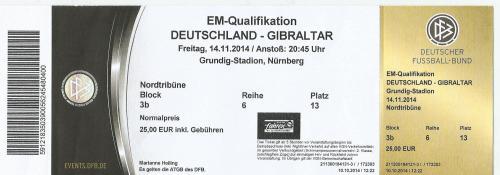 Germany v Gibraltar - ticket