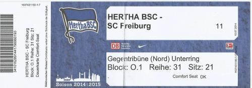 Hertha BSC v SC Freiburg - 2014-15 ticket