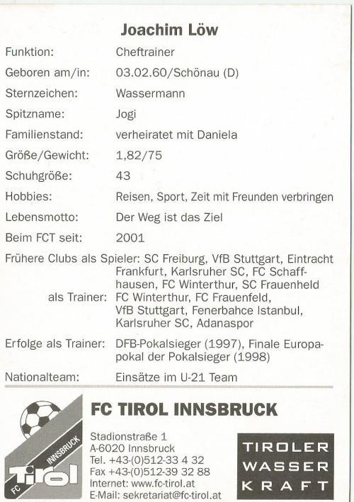 Joachim Löw - FC Tirol Innsbruck Autogrammkarte 2