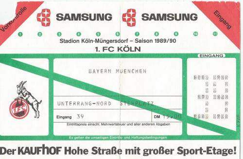 Köln v FCB - 1989-90 ticket