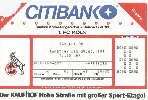Köln v Schalke 04 - 1991-92 ticket