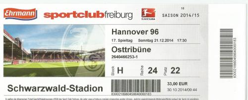 SC Freiburg v Hannover 96 - 2014-15 ticket