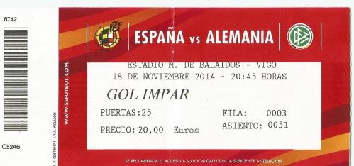 Spain v Germany - ticket