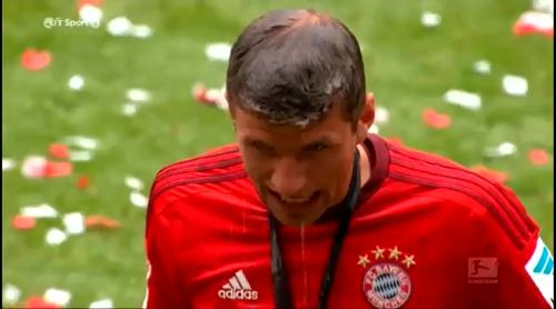 Beer soaked Thomas Müller
