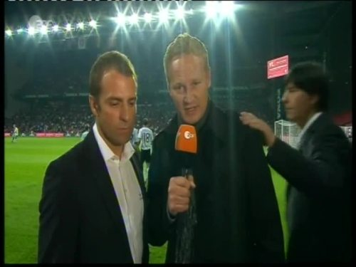 Denmark v Germany 2010 friendly - Hansi Flick half time interview 2