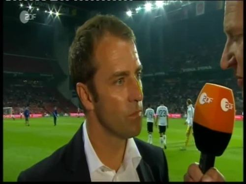 Denmark v Germany 2010 friendly - Hansi Flick half time interview 4