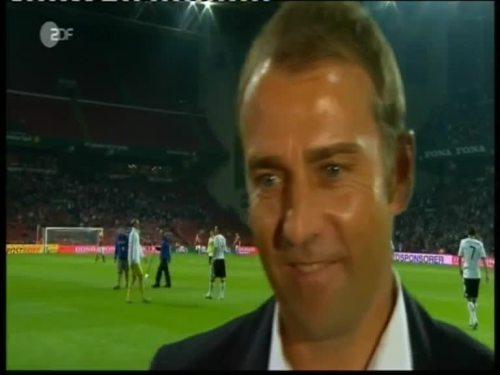 Denmark v Germany 2010 friendly - Hansi Flick half time interview 8