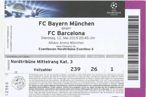 FCB v FC Barcelona - Champions League semi final 2014-15 ticket