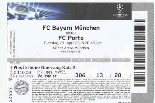 FCB v FC Porto - Champions League quarter final 2014-15 ticket