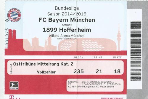 FCB v TSG 1899 Hoffenheim - 2014-15 ticket