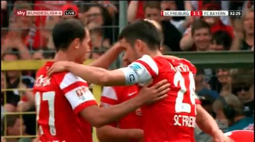 Freiburg players celebrate equaliser against Bayern