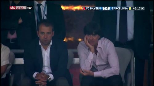 Hansi Flick & Joachim Löw at Bayern München v Barcelona 3