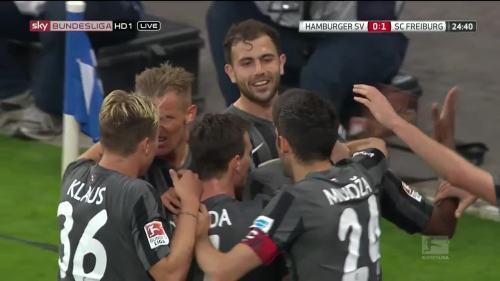 SCF celebrate Mehmedi goal against HSV