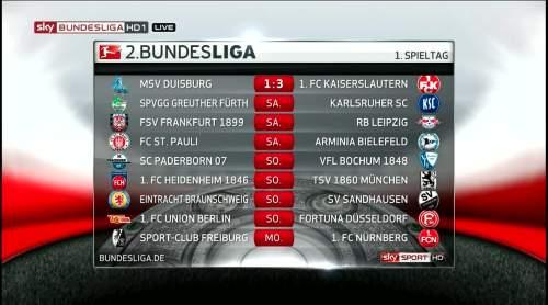 2. Bundesliga MD1 schedule