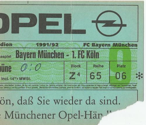 FCB v 1.FCK - 1991-92 ticket