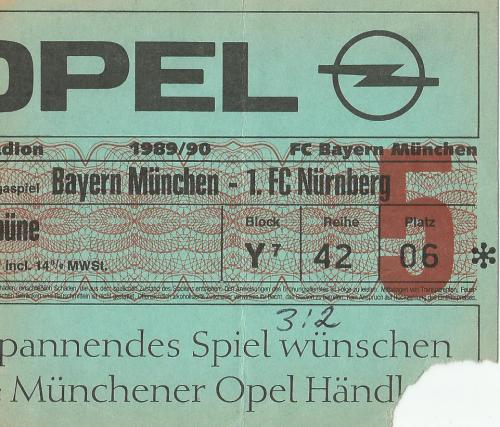 FCB v 1.FCN - 1989-90 ticket