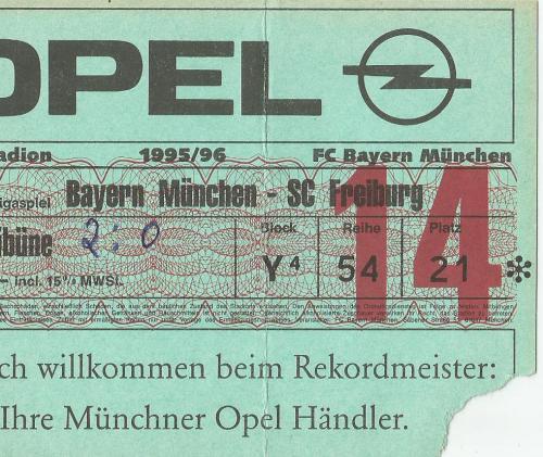 FCB v SC Freiburg - 1995-96 ticket
