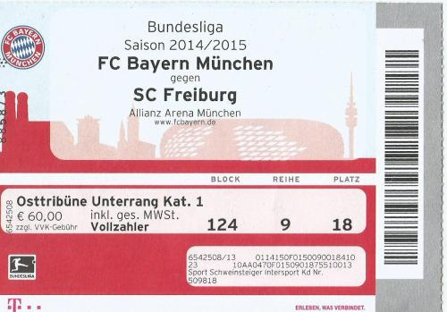 FCB v SC Freiburg - 2014-15 ticket