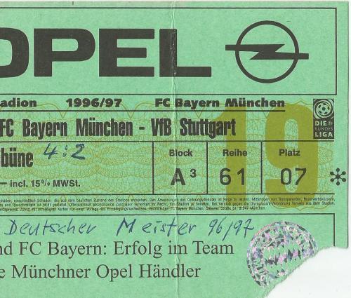 FCB v VfB Stuttgart - 1996-97 ticket