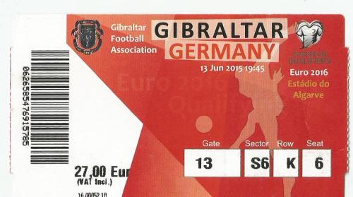 Gibraltar v Germany - ticket