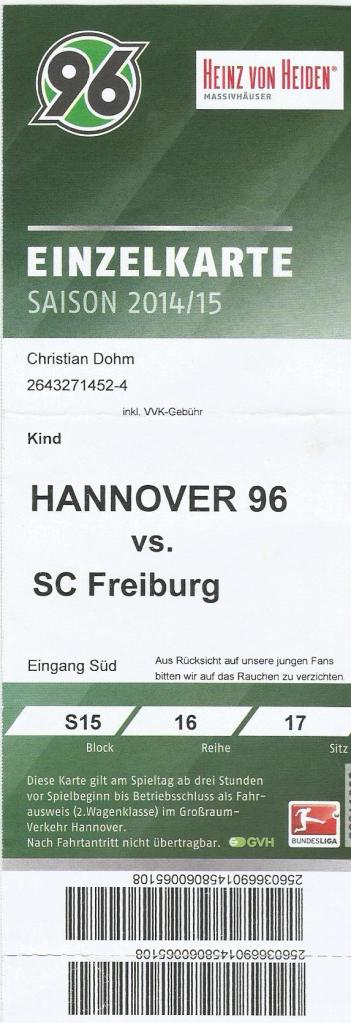 H96 v SC Freiburg - 2014-15 ticket