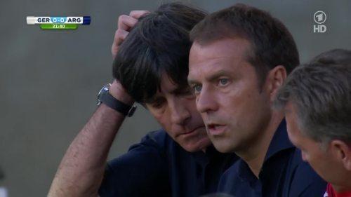 Joachim Löw & Hansi Flick – Germany v Argentina – 1st half 10