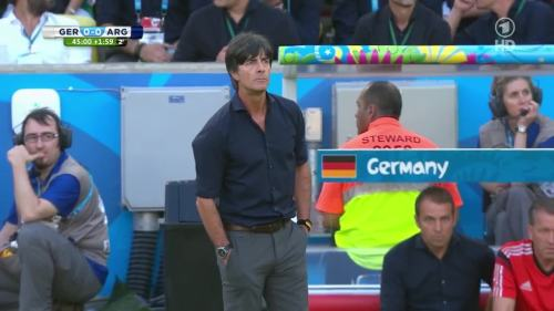 Joachim Löw & Hansi Flick – Germany v Argentina – 1st half 11