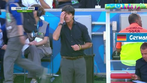 Joachim Löw & Hansi Flick – Germany v Argentina – 1st half 3
