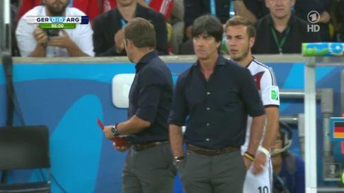Joachim Löw & Hansi Flick – Germany v Argentina – 2nd half 5