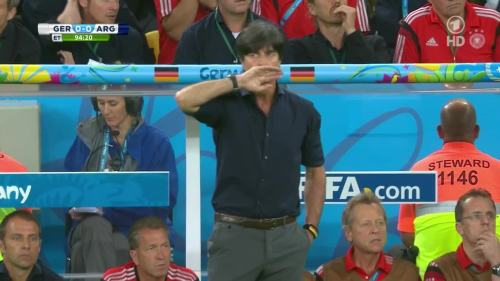Joachim Löw & Hansi Flick – Germany v Argentina – extra time 9