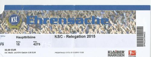 KSC v HSV - Relegation 2015 ticket