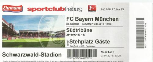 SC Freiburg v FCB - 2014-15 ticket
