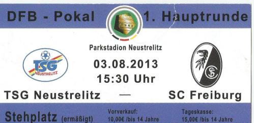 TSG Neustrelitz v SC Freiburg - 2013-14 DFB Pokal ticket