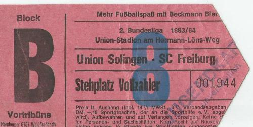 Union Solingen v SC Freiburg - 2. Bundesliga 1983-84 ticket
