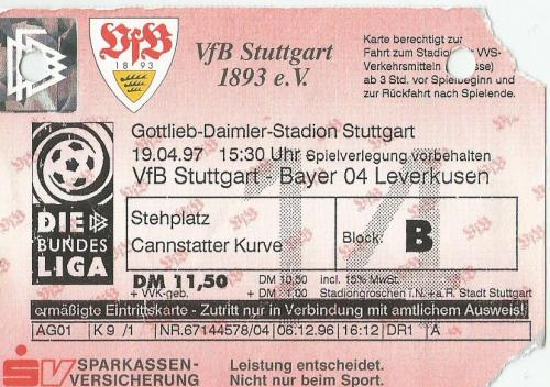 VfB Stuttgart v Bayer 04 Leverkusen - 1996-97 ticket