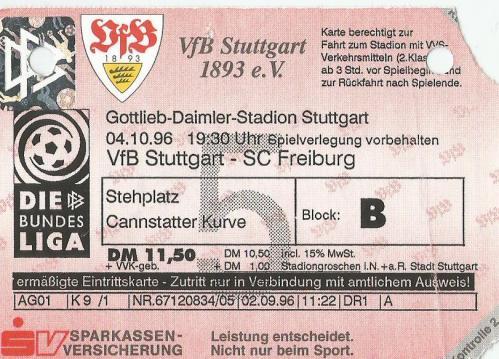VfB Stuttgart v SC Freiburg - 1996-97 ticket