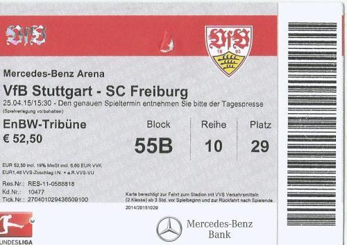 VfB Stuttgart v SC Freiburg - 2014-15 ticket