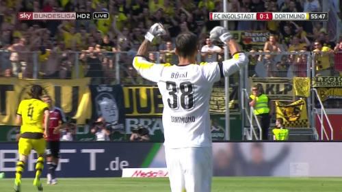 Roman Bürki celebrates Ginter goal – Ingolstadt v BVB