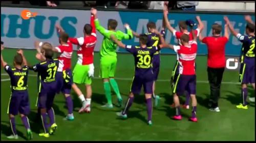 SC Freiburg celebrate 1
