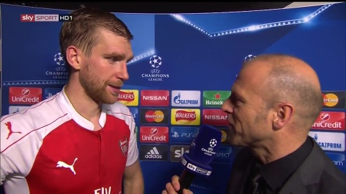 Per Mertesacker - post-match interview - Arsenal v Bayern 1