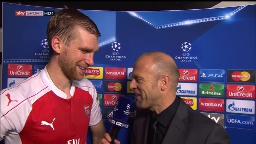 Per Mertesacker - post-match interview - Arsenal v Bayern 2